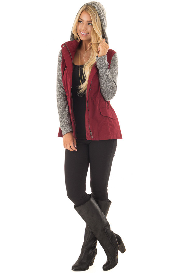 Burgundy Military Jacket with Heather Grey Two Tone Contrast front full body