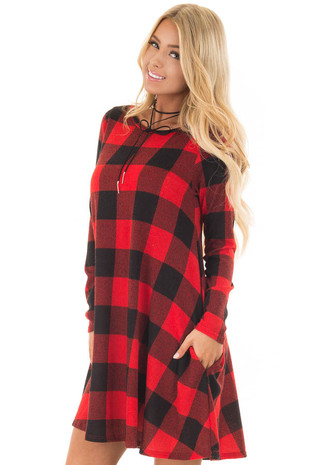 Red and Black Plaid Long Sleeve Dress with Hidden Pockets front close up