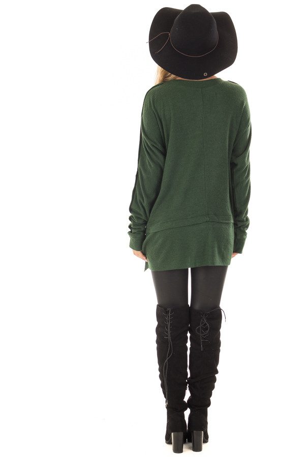 Hunter Green Long Sleeve Sweater with Button Details back full body