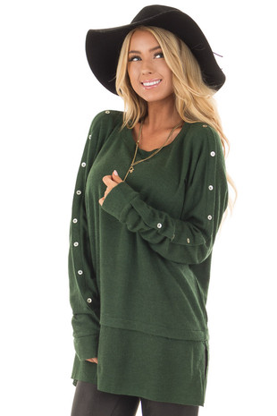 Hunter Green Long Sleeve Sweater with Button Details front close up