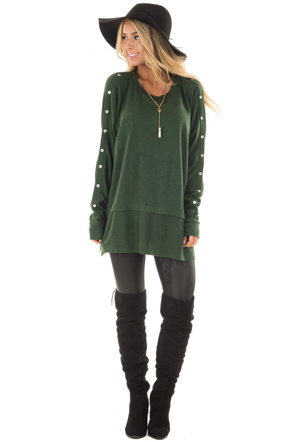 Hunter Green Long Sleeve Sweater with Button Details front full body