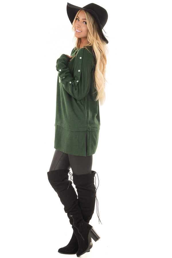 Hunter Green Long Sleeve Sweater with Button Details side full body