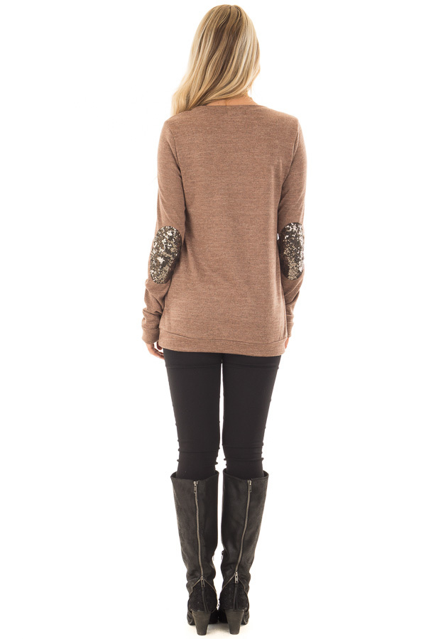 Cocoa Soft Sweater with Metallic Sequin Elbow Patches back full body