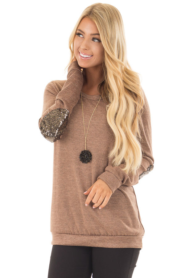 Cocoa Soft Sweater with Metallic Sequin Elbow Patches front close up