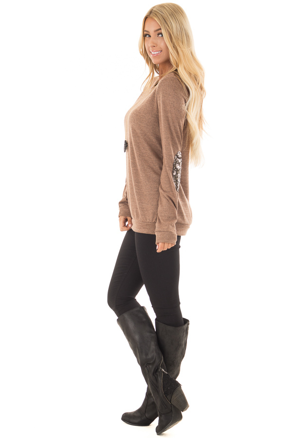 Cocoa Soft Sweater with Metallic Sequin Elbow Patches side full body