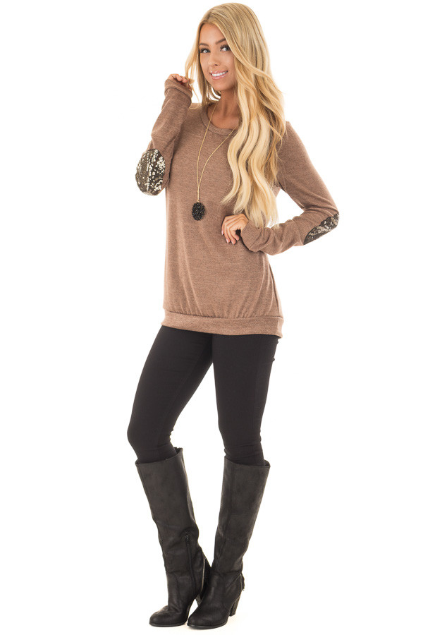 Cocoa Soft Sweater with Metallic Sequin Elbow Patches front full body