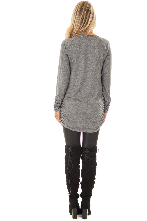Cement Grey Tunic Top with Gathered Sides and Cuffs back full body
