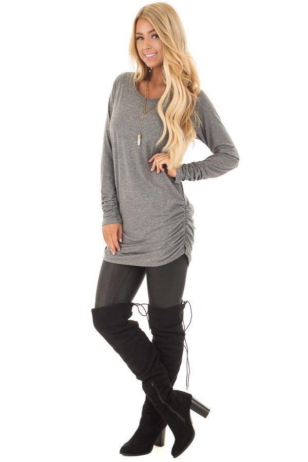 Cement Grey Tunic Top with Gathered Sides and Cuffs front full body