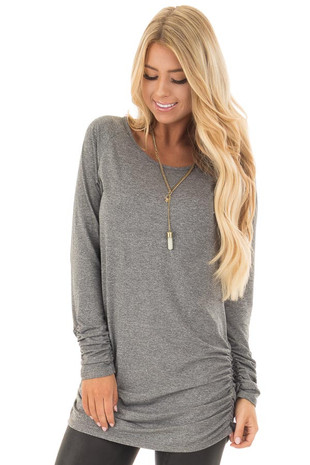 Cement Grey Tunic Top with Gathered Sides and Cuffs front close up