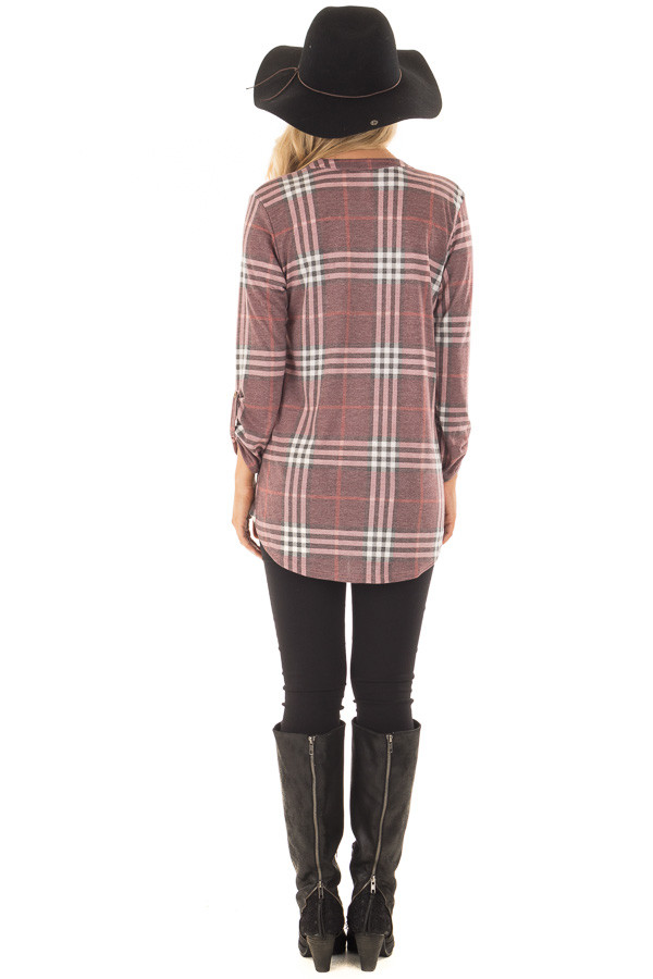 Burgundy Plaid V Neck Top with 3/4 Roll Up Sleeves back full body