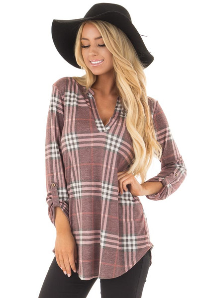 Burgundy Plaid V Neck Top with 3/4 Roll Up Sleeves front close up