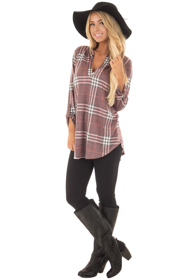 Burgundy Plaid V Neck Top with 3/4 Roll Up Sleeves front full body