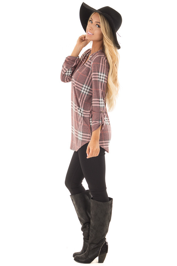 Burgundy Plaid V Neck Top with 3/4 Roll Up Sleeves side full body