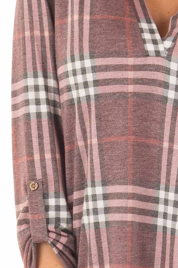 Burgundy Plaid V Neck Top with 3/4 Roll Up Sleeves detail