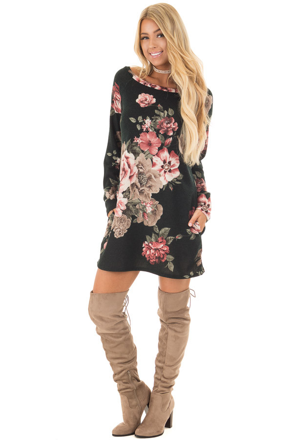 Black Floral Print Boat Neck Dress with Hidden Pockets front full body