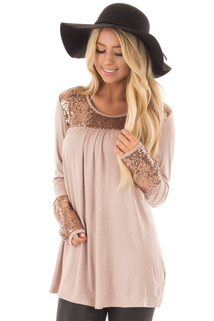 Taupe Long Sleeve Top with Metallic Sequin Details front close up