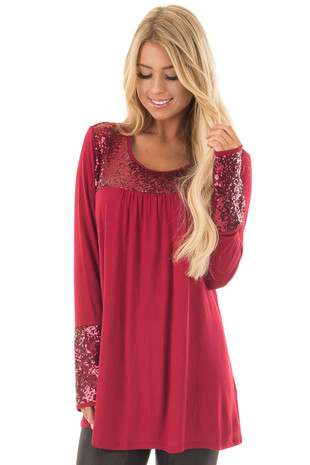 Burgundy Long Sleeve Top with Metallic Sequin Details front close up