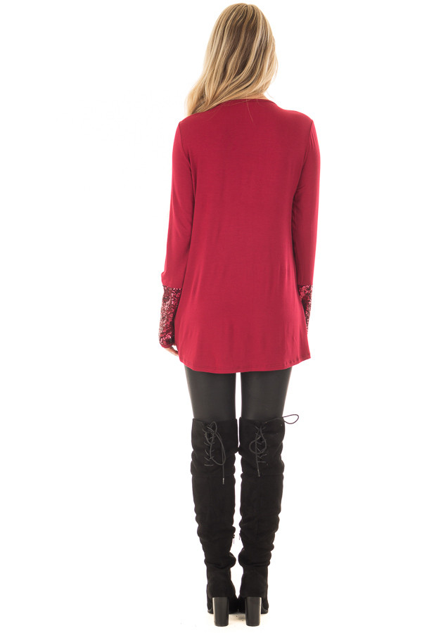 Burgundy Long Sleeve Top with Metallic Sequin Details back full body