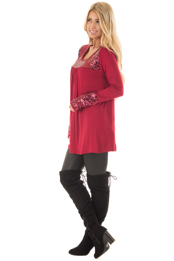 Burgundy Long Sleeve Top with Metallic Sequin Details side full body