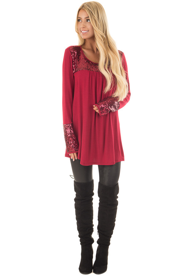 Burgundy Long Sleeve Top with Metallic Sequin Details front full body