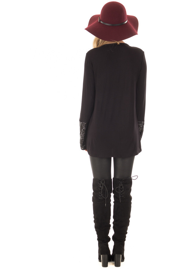 Black Long Sleeve Top with Metallic Sequin Details back full body