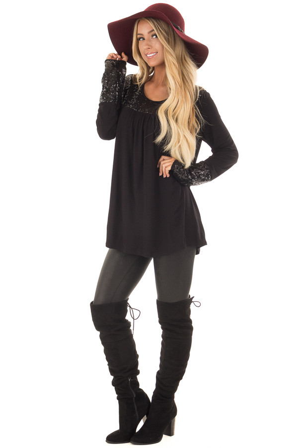 Black Long Sleeve Top with Metallic Sequin Details front full body