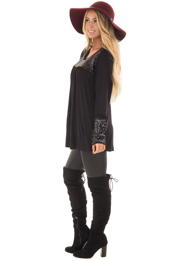 Black Long Sleeve Top with Metallic Sequin Details side full body