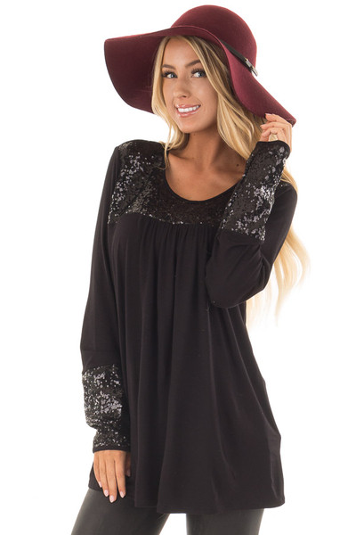 Black Long Sleeve Top with Metallic Sequin Details front close up