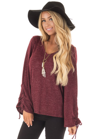 Burgundy V Neckline Top with Wrist Ties front close up