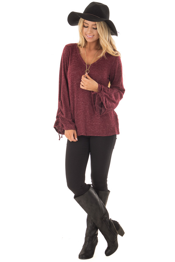Burgundy V Neckline Top with Wrist Ties front full body