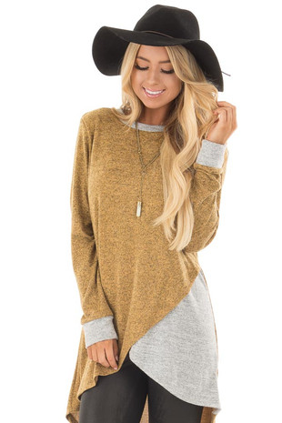 Mustard Two Tone Tunic Sweater with Heather Grey Accents front close up