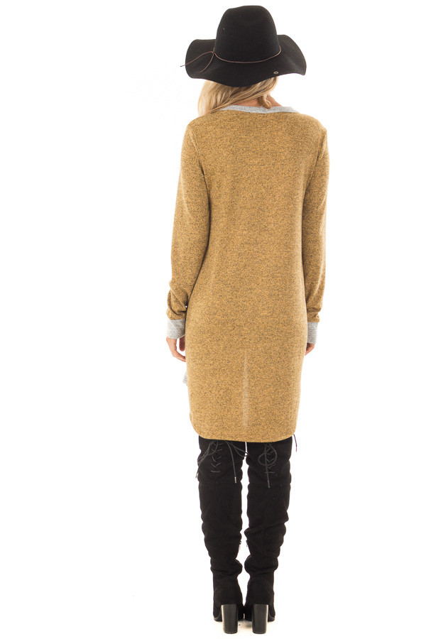 Mustard Two Tone Tunic Sweater with Heather Grey Accents back full body