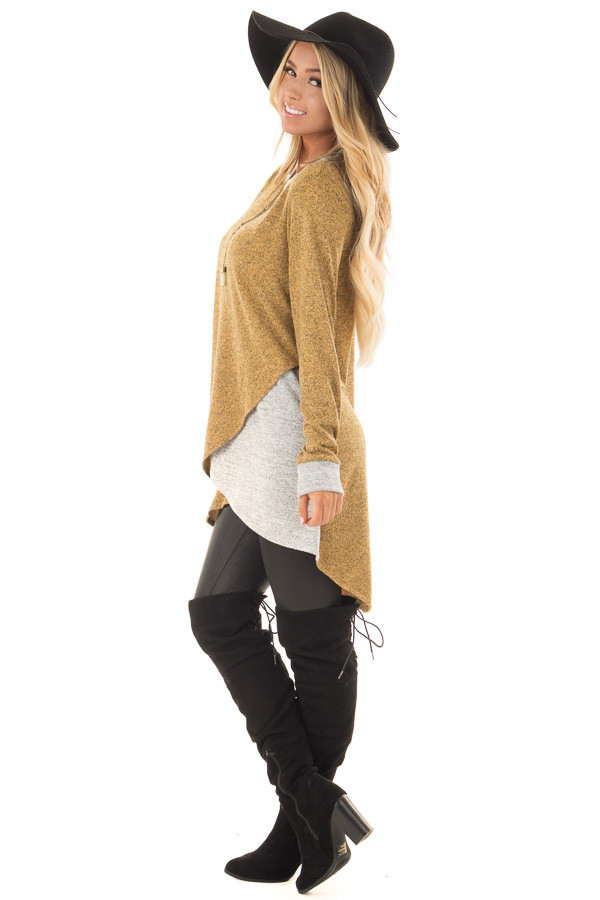 Mustard Two Tone Tunic Sweater with Heather Grey Accents side full body