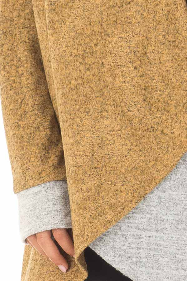 Mustard Two Tone Tunic Sweater with Heather Grey Accents detail