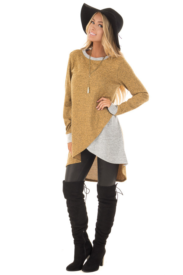 Mustard Two Tone Tunic Sweater with Heather Grey Accents front full body