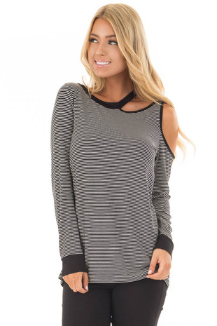 Black and White Striped Cold Shoulder Top with Cutout Neck front close up