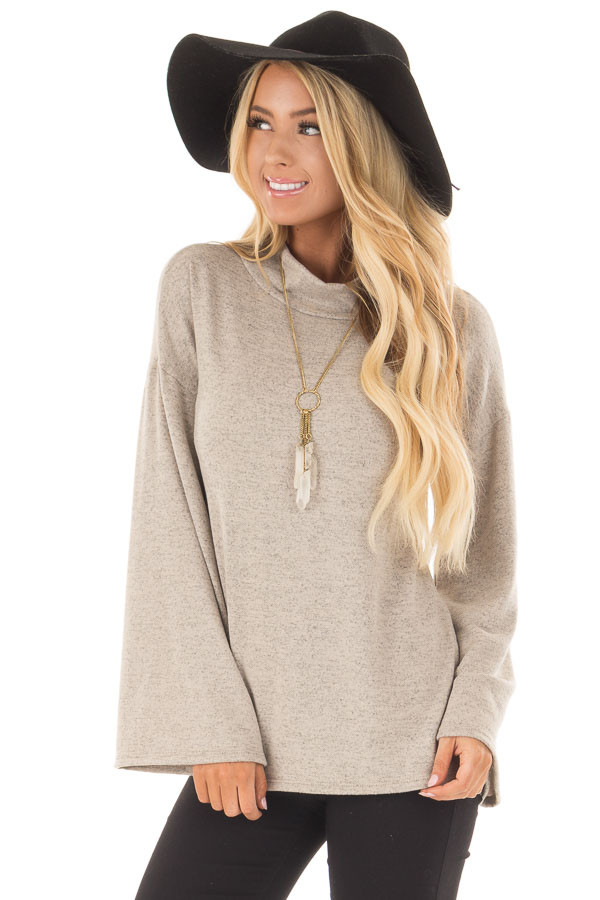 Taupe Soft Top with High Neckline and Trumpet Sleeves front close up