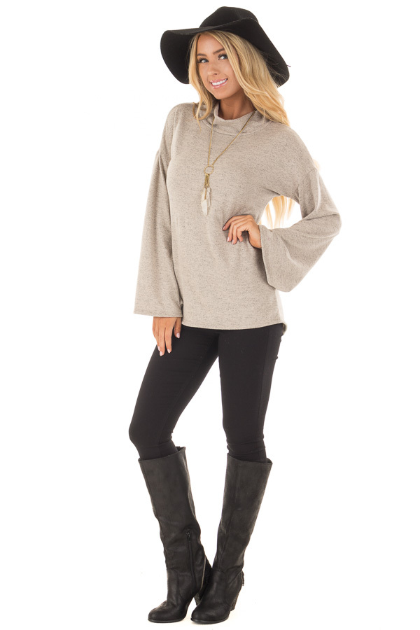 Taupe Soft Top with High Neckline and Trumpet Sleeves front full body