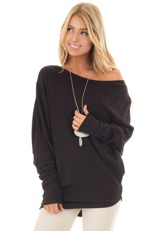 Black Waffle Knit Oversized Off the Shoulder Top front close up