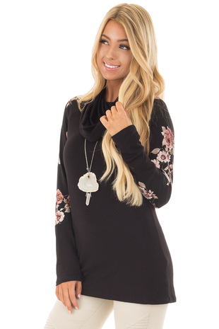 Black Cowl Neck Top with Floral Print Long Sleeves front close up
