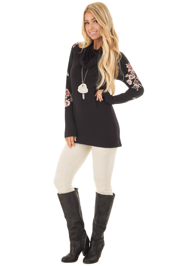 Black Cowl Neck Top with Floral Print Long Sleeves front full body