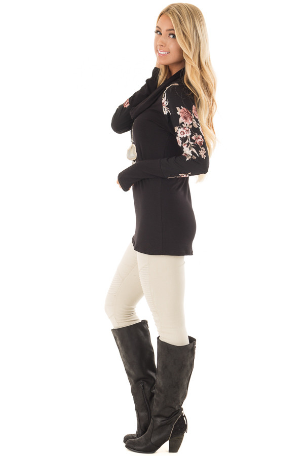 Black Cowl Neck Top with Floral Print Long Sleeves side full body