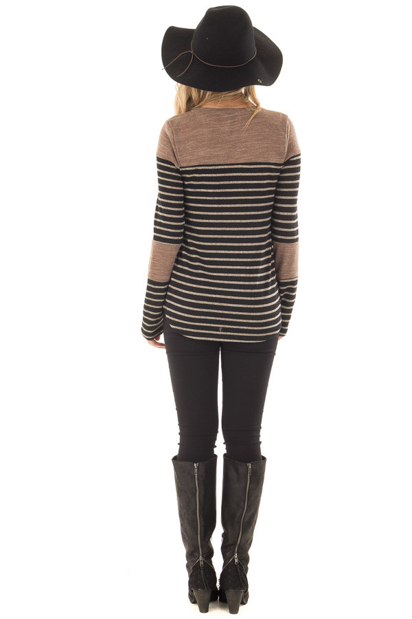 Black and Mocha Striped Long Sleeve Top back full body