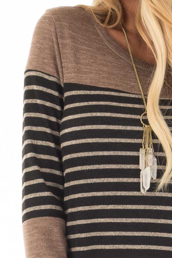 Black and Mocha Striped Long Sleeve Top detail