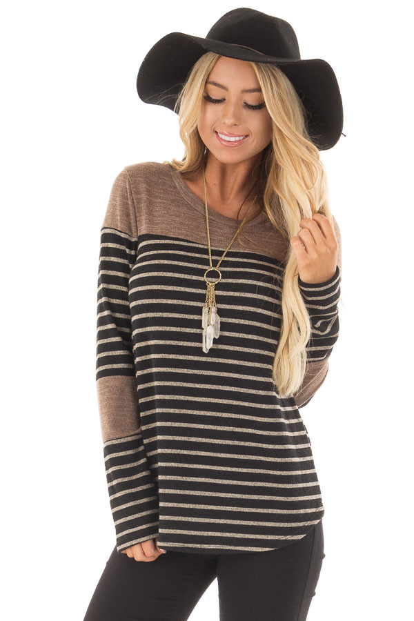 Black and Mocha Striped Long Sleeve Top front close up