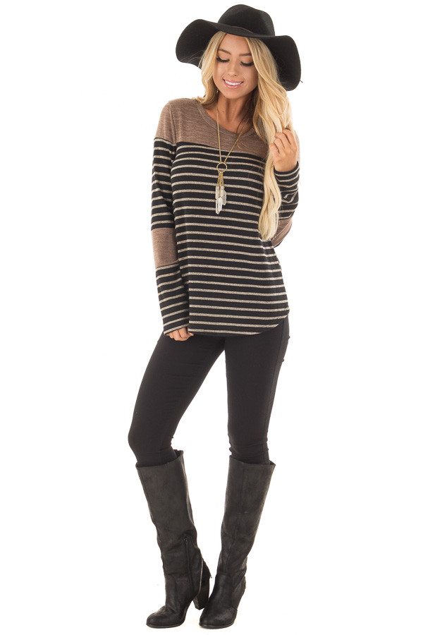 Black and Mocha Striped Long Sleeve Top front full body