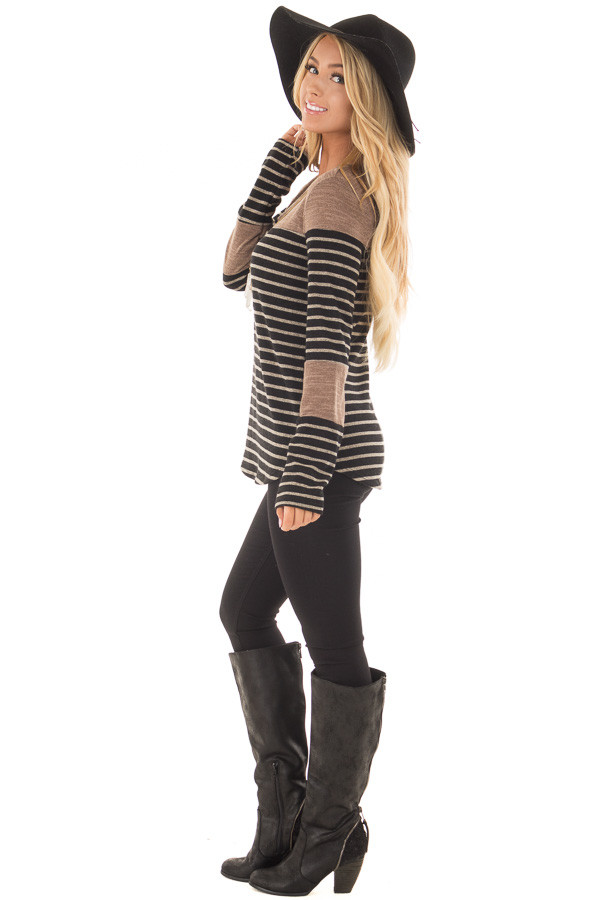 Black and Mocha Striped Long Sleeve Top side full body