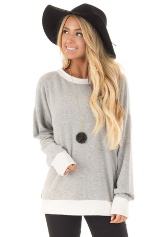 Light Grey Super Soft Sweater with Ivory Contrast front close up