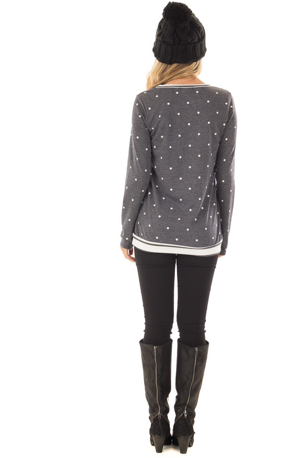 Navy Polka Dot Top with Off White Striped Contrast back full body