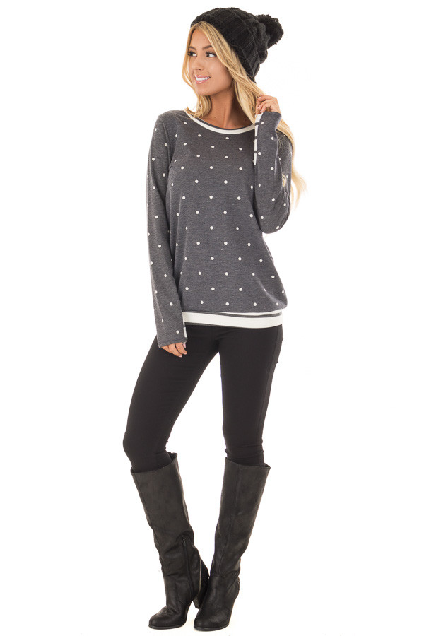 Navy Polka Dot Top with Off White Striped Contrast front full body